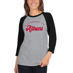 Saturday In Athens UGA Football 3/4 sleeve raglan shirt