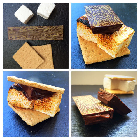 Collage of caramel bar, marshmallows, and graham crackers