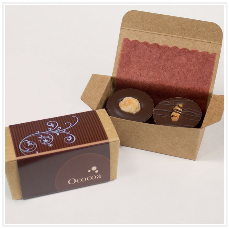Ococoa 2 Piece Favor Box Hazelnut Truffle and Marzipan Nut Butter Cups
