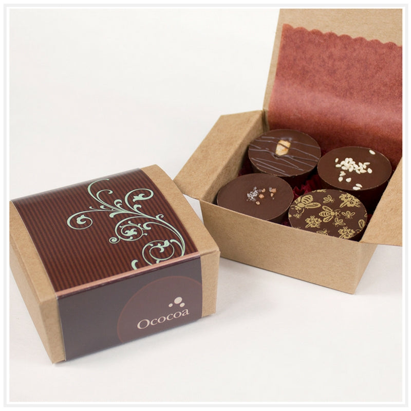 Ococoa Chocolate 4 piece Classic Nut Butter Cup Favor Box