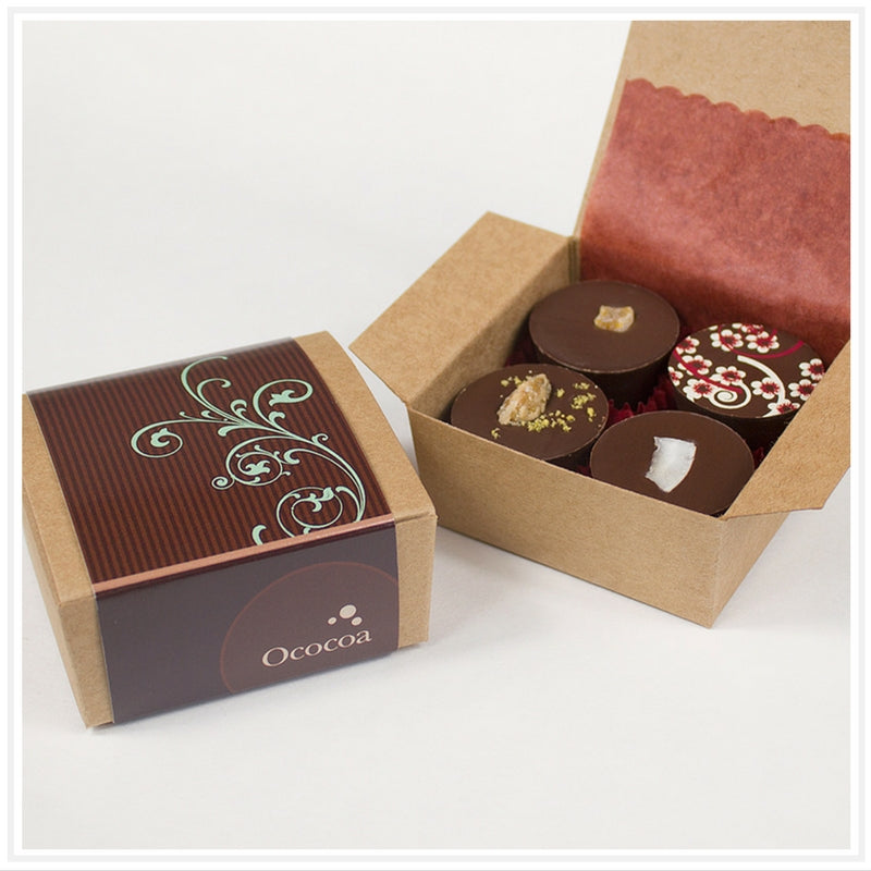Ococoa Chocolate 4 piece Fruit and Nut Butter Cup Favor Box