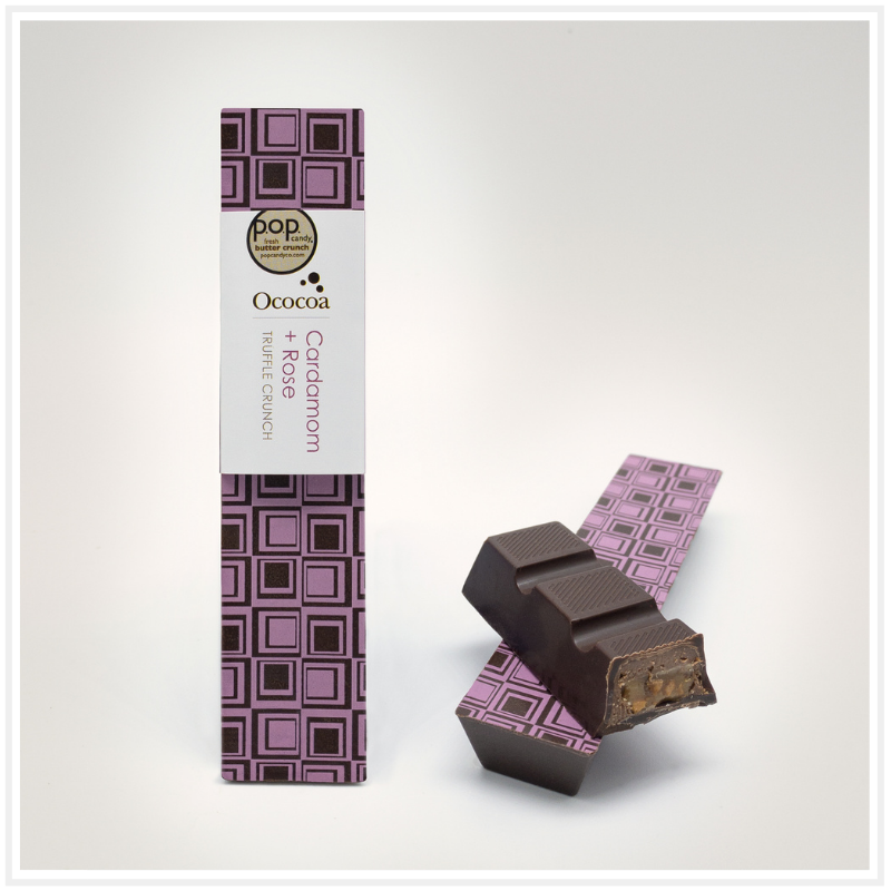 Ococoa Cardamom Rose Truffle Crunch Bar