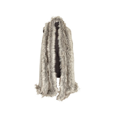 Large Faux Fur Trim Shawl