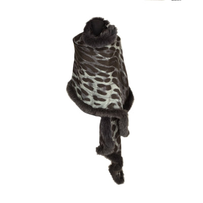 Large Leopard Print Scarf with Full Fur Trim