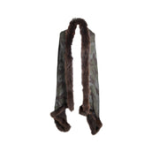 Large Camouflage Scarf with Fur Trim