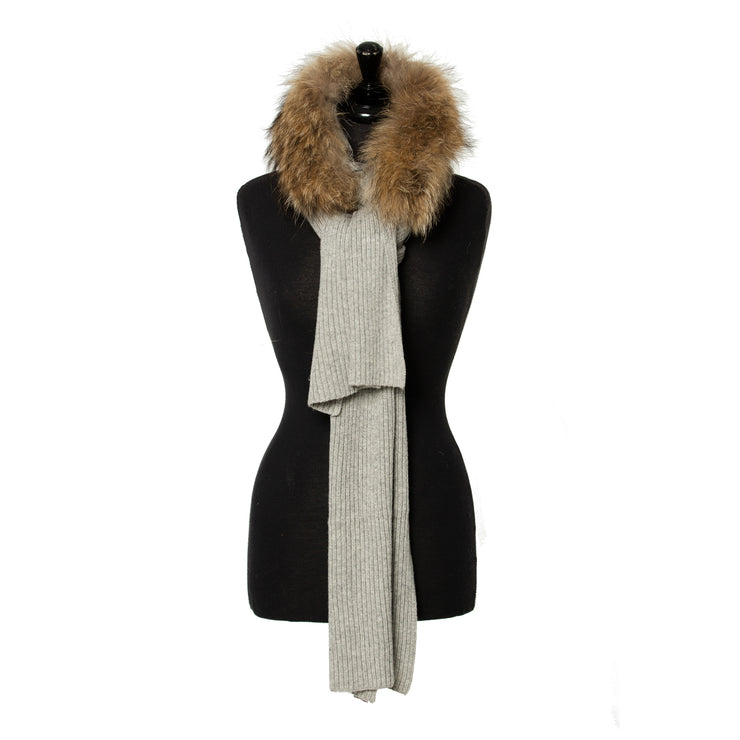 Ribbed Wool Scarf with  with Real Fur Muffler Collar