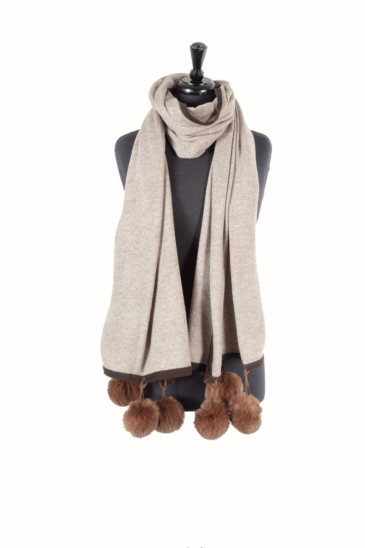 Knitted Cashmere Blend Scarf with Suede Border and Faux Pom-Poms