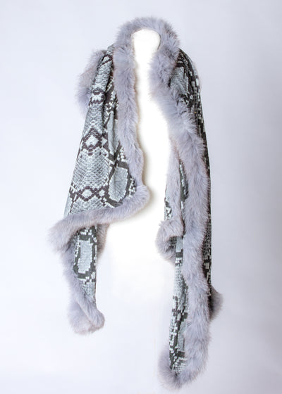 Print Design Scarf with Full Four Sided Fur Trim