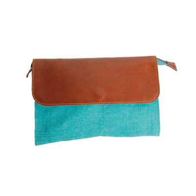 Canvas Clutch with Real Leather Flap