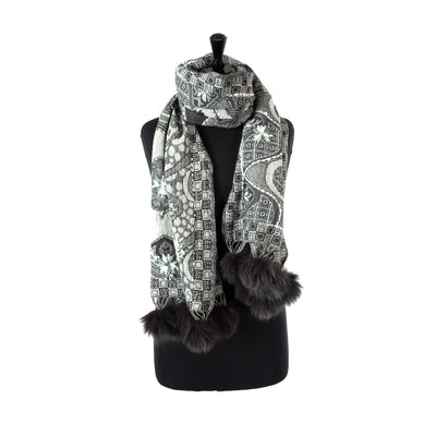 Wool Embroidered Scarf with Fur Pom-Poms