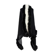 Woven Cashmere Blend Reversible Scarf with Real Fur Trim