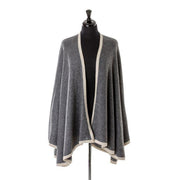 Cashmere Blend Cape Wrap with Plain Edge