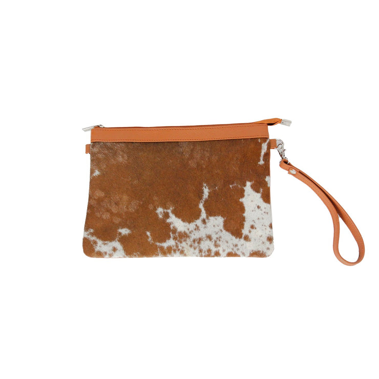 Real Cow Hide Pouch with Leather Zip Top