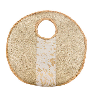 Circular Summer Raffia Beach Bag Real Hide Detail