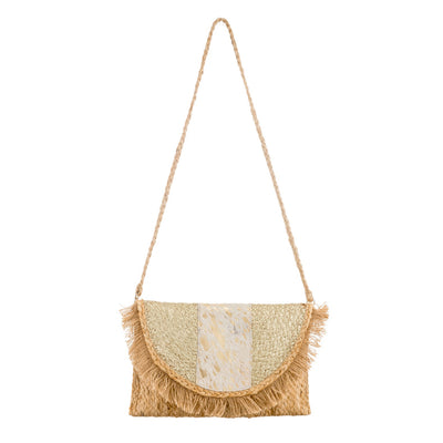 Bohemian Straw Raffia Clutch Bag with Cow Hide Detail