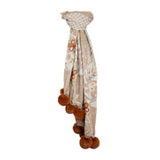 Wool Embroidered Scarf with Faux Fur Pom-Poms