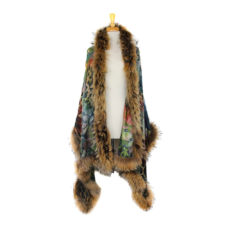 Wild and Floral Print Scarf with Fur Trim