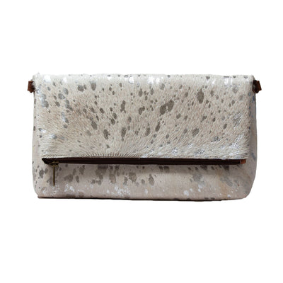 Real Hide Fold-Over Envelope Clutch Bag