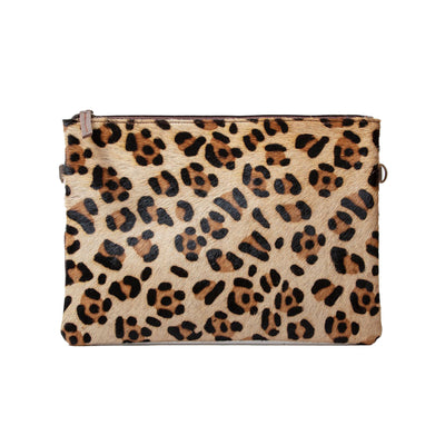 Real Printed Hide and Leather Oversized Clutch