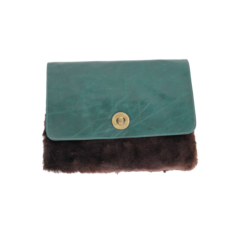 Faux Fur & Leather Clutch Bag