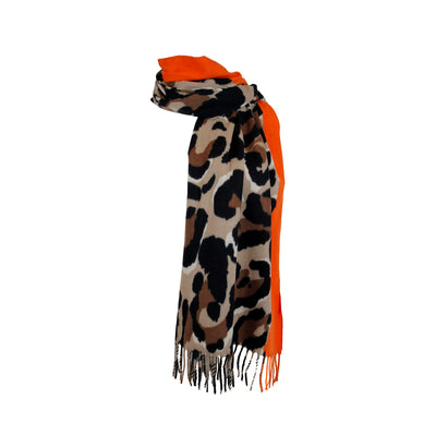 Oversized Scarf in Large Leopard or Snake Print with Colour Panel