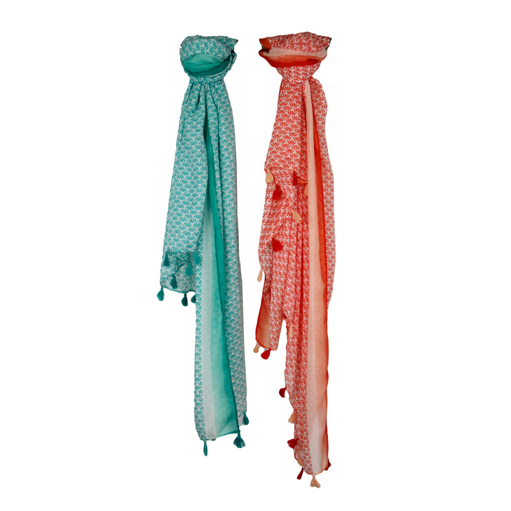 Summer Palm Leaf Tassel Scarf