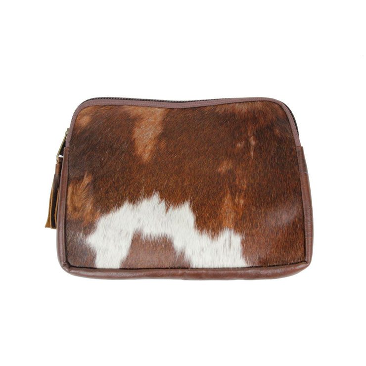 Real Hide and Leather Zip Top Pouch