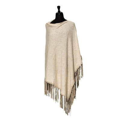 Suede Fringed Cashmere Blend Poncho