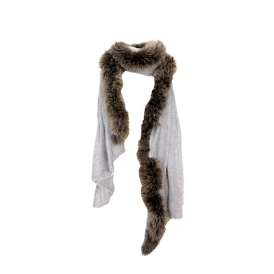 Fine woven herringbone cashmere scarf with one side fur trim