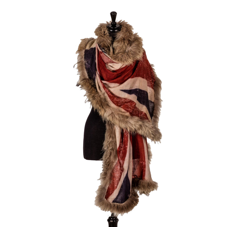Vintage Union Jack Print Scarf with 4-sides Real Fur Trim