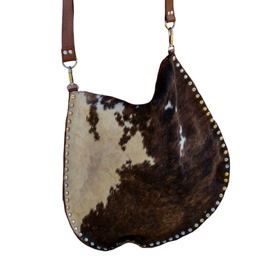 Real Hide & Leather Studded Edge Hobo Bag
