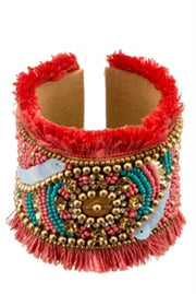Crystal and bead embroidered cuff bracelet