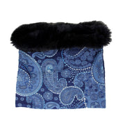 Embroidered Wool Infinity Loop Snood with Fur Trim