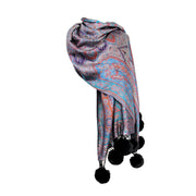 Silk Blend Scarf with Paisely Print Faux Fur PomPoms