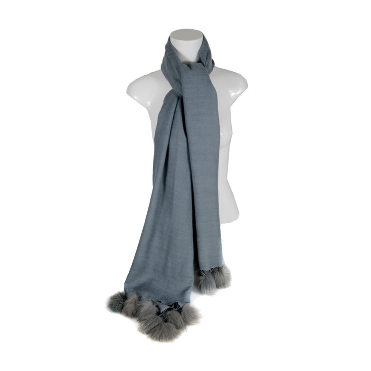 Fine Wool & Silk Blend Fine scarf with Real Fur PomPoms