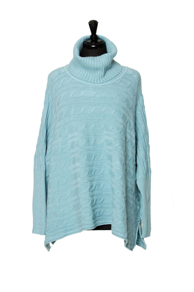 Roll Neck Cable Jumper with Ribbed Sleeves