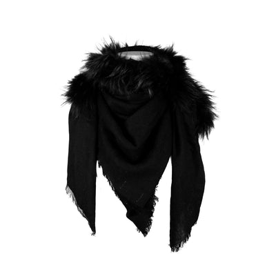 Silk & Wool Shawl with Central Fur and Frayed Edge