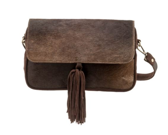 Fold Over Leather & Hide Bag with Tassel