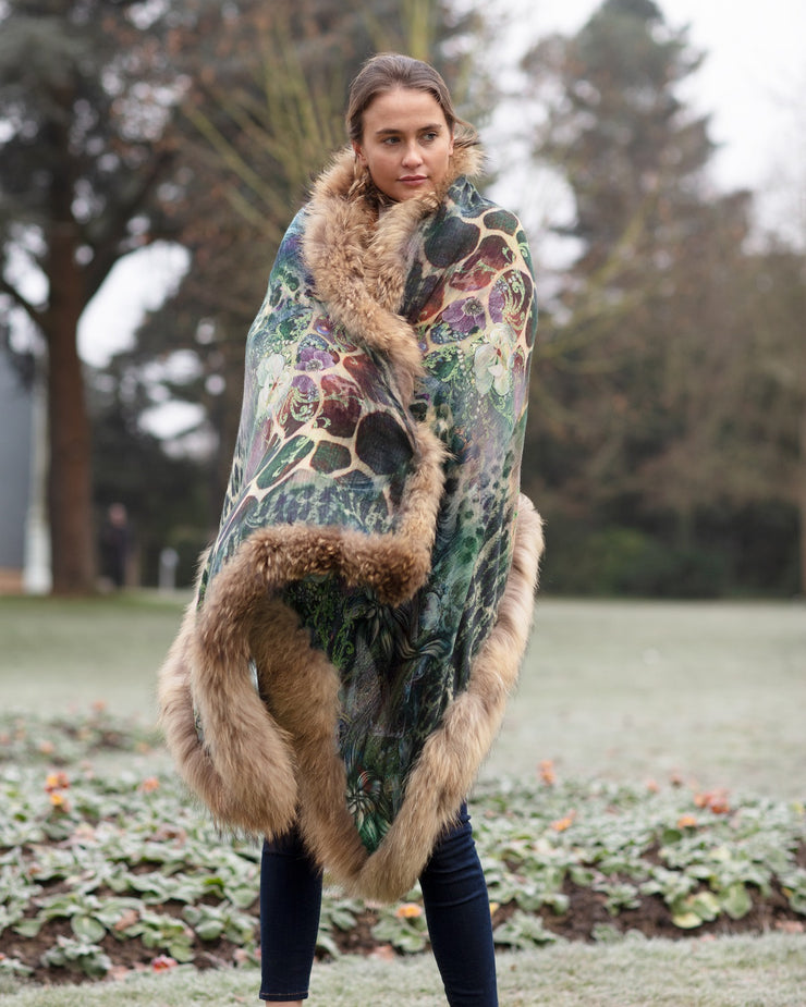 Wild and Floral Print Scarf with Full Fur Trim