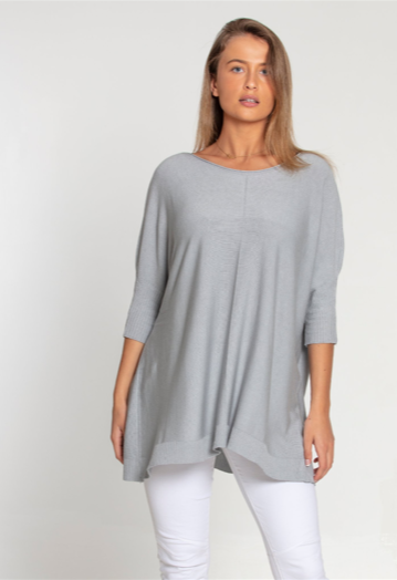 Ribbed Sleeve Lightweight Tunic Jumper