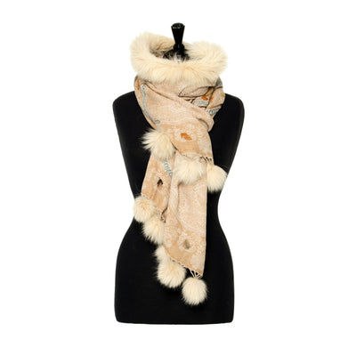 Embroidered Wool Wrap with Fur Collar and Fur Pom-poms