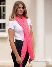 Plain Coloured Scarf with frayed edge