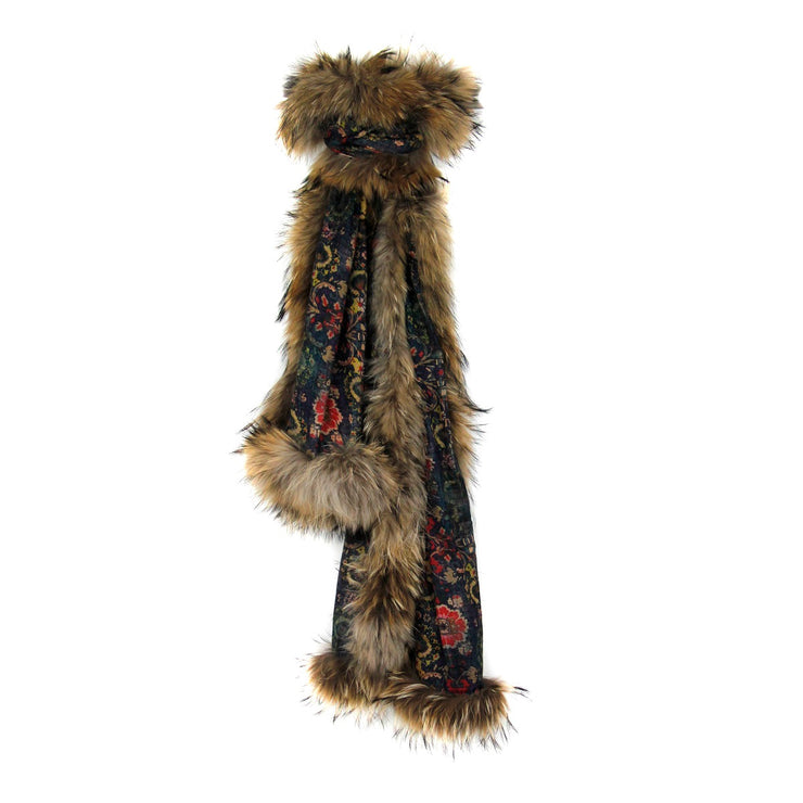 Moroccan Floral Print Scarf with Fur Trim