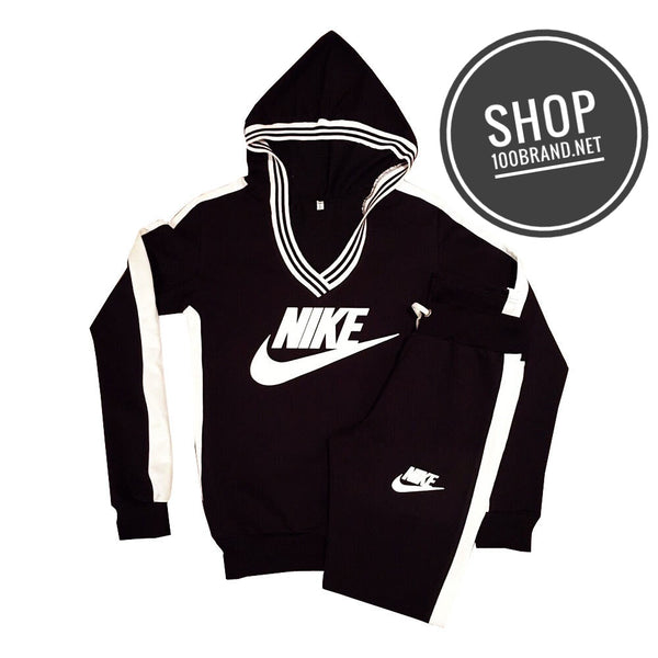 Women Nike V-Neck Hoodie Sweat Suit