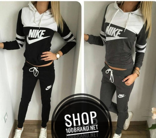 Women Nike Two Tone Hoodie Sweat Suit