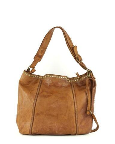 Anna Hobo in Bolsa Nova Italian leather,  Cognac