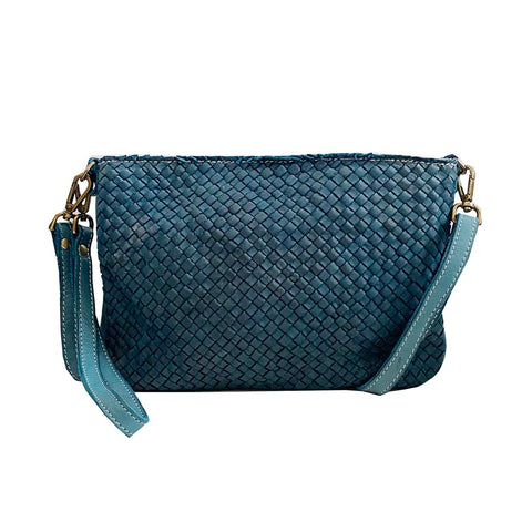 Laura woven crossbody in teal