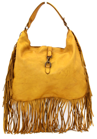 Luna Fringe Hobo Yellow