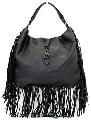 Luna Fringe Hobo Black