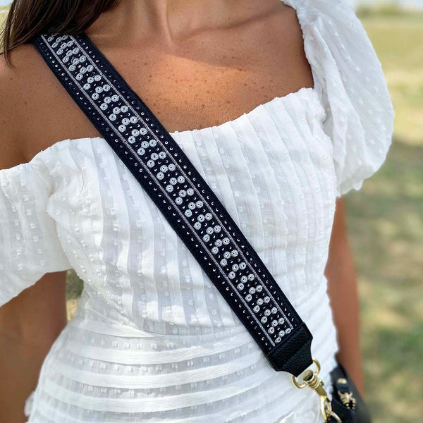 Black and White Embroidered Shoulder Strap